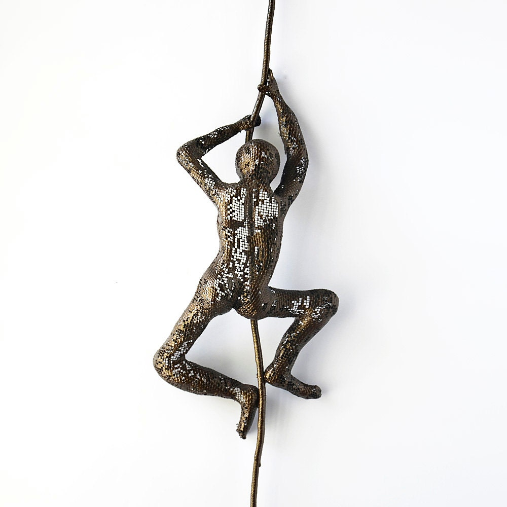 Wall Decor With Rope : Climbing man on rope home decor metal wall art wire mesh