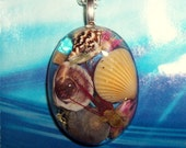 Sea Shell Seascape Ocean  Resin Pendant Necklace