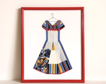 Framed Hanky Dress – 1940s Handkerchief Made Into Art, Carnation Handkerchief