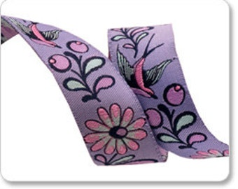 Lavender Birds and Bees Ribbon by Tula Pink - 1 Yard - Bee Ribbon - Renaissance Ribbons - Birds - Tula Pink