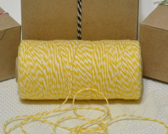 25 yards Bakers twine bright yellow/white 4ply cotton for tags packaging scrapbooking cards banners clearance sale