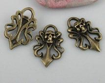 16pcs antiqued bronze color skull sword design charms EF0528