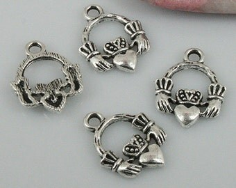 54pcs Tibetan silver color hands holding love heart charms EF0432