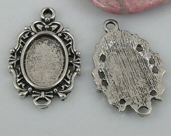 14pcs tibetan silver color rim cabochon settings in 28x18mm EF0514