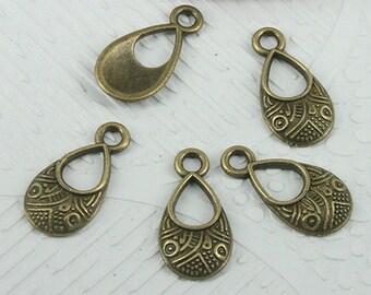 70pcs antiqued bronze color tear shaped patterns charms EF0666