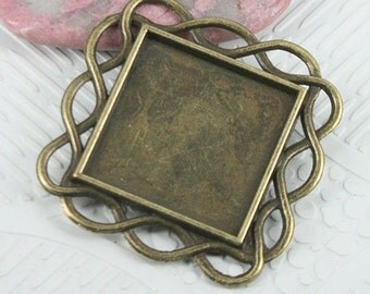 10pcs antiqued bronze color squared shaped cabochon setting EF0688
