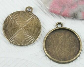 24pcs antiqued bronze color round cabochon settings EF0734