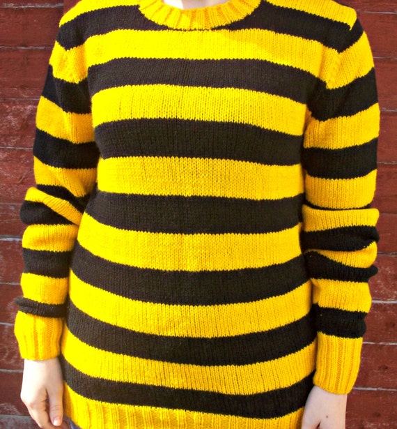 Yellow Black Crew Neck Jumper Sweater Hand Knitted44 46 Inch