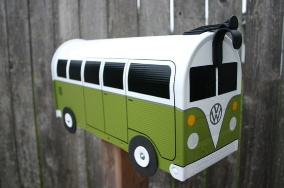 Eden Green Volkswagen Bus Mailbox by TheBusBox Custom made - Choose your color - SplitBusBox