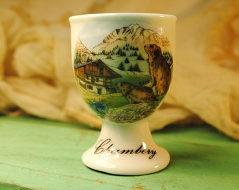 CHAMBERY FRENCH egg cup mountian and wood chucks ever so charming a perfect way to start the day soft boiled egg and some toast soldiers.