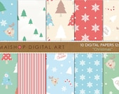 Digital Paper - Christmas - Blue, Green, Red, Beige, White.. Tree Patterns, Stripes, Snow Flakes, Merry Christmas Backgrounds