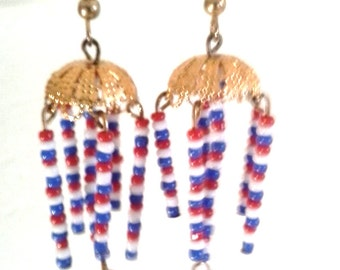 Gold - Plated Patriotic Bell-Top Earrings