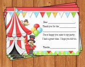 Circus Carnival Kids Birthday Thank You Cards Instant Download KBI435TY
