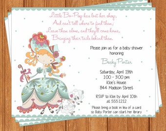 Bo Peep Invitation | Baby Shower | Printable Editable Digital PDF File | Instant Download | BSI299DIY