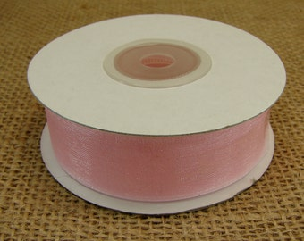 "Organza Ribbon - Pink - 7/8"" Wide - Full 25 Yard Spool"