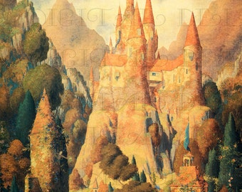RARE! Rare! Intense Countryside and Castle! Beautiful Vintage Fairy Tale DIGITAL Illustration. Vintage Fairy Tale Digital Download.