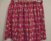SALE  - Hot PiNK Skirt with FUN Design - Handmade
