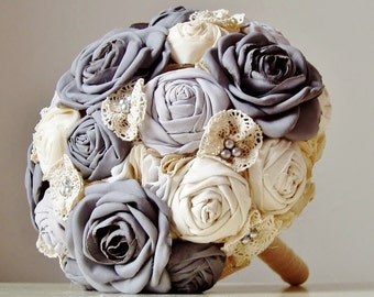 Fabric Bouquet, Fabric Wedding Bouquet, Weddings, Vintage Bridal Bouquet,,  Wedding Bouquet,  Gray Roses