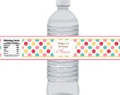 Polka Dot Bottle Wrap - Turquoise, Pink, Red and Yellow Simple Polka Dot Personalized Bottle Label - a Digital Printable File