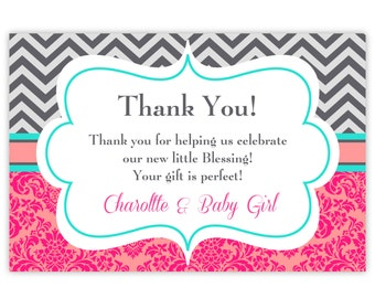 Chevron Thank You Card - Gray Chevron, Pink Coral Damask, Turquoise Personalized Girl Baby Shower Party Thank You - Digital Printable File