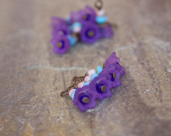 Bead Drop Charms - Czech Glass Beads Lucite Purple Flower