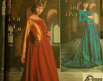 Medieval Costume Dress - Simplicity Pattern 8725   Uncut  Sizes 10-12-14  Bust 32.5-34-36""