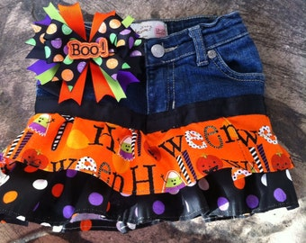 Halloween ruffled denim skirt