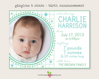 Gingham & Stars Birth Announcement - Printable or Printed Cards - Colors Changeable