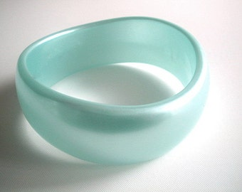 Lucite Bangle Wide  Chunky Asymetrical Pearlized Aquamarine Color