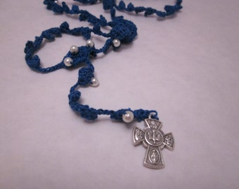 Navy rosary (#35) with ecru beads and small 5 way cross