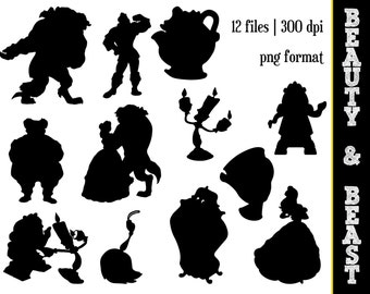 Beauty & the Beast Silhouettes // Disney Princess Belle Silhouette // Disney Clipart // Beauty and the Beast Silhouettes