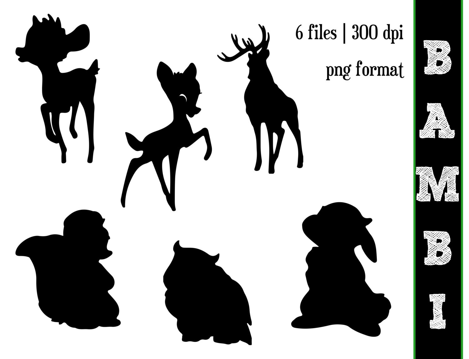 It is a graphic of Crafty Disney Character Silhouettes