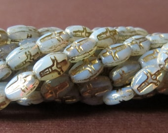 Czech Glass Cross Bead Bead w/ Gold Inlay, Milky White, 8x6mm, 60 Pcs, Rosary Bead Supplies to Make Your Own Rosaries