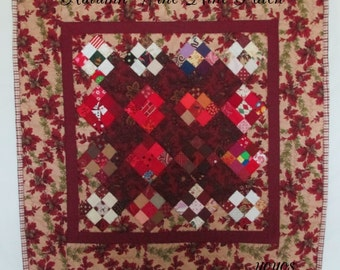 MINI QUILT Wall Hanging Table Square Wine Nine Patch Autumn Acorns Home Shabby Chic Cottage Cabin Holiday Décor