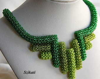 SALE! 10% OFF! Green Statement Beadwoven Bib Necklace, Right Angle Weave, Women's Beaded Fashion Jewelry, Bead Accessory, Gift for Her, OOAK