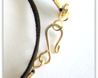 14 to 24 inch Brown Necklace Cord, Chocolate Fizz,  Necklace Cord,  Gold Hook Clasp,  Pendant Cord, Jewelry Cord, Custom, Faux Suede Cord