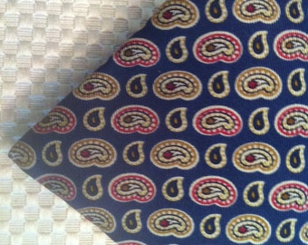 L I B E R T Y  of  L O N D O N - T I E - Trad Tie, Vintage Men's Necktie, Liberty of London Navy Foulard Men's Silk Tie, Archival Print