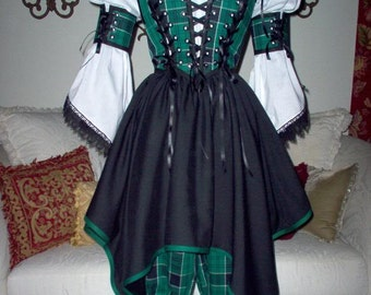 Plaid Highlander Pirate Renaisssance Costume With Bloomers Other Colors Available