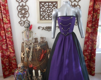 Purple Pirate Renaissance Steampunk Strapless Costume. Different Colors Available.