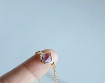 Amethyst Glass Bead Bracelet Anklet, Diamond Cut Gold Plated Chain, Simple, Modern, Bridal Jewelry, Wedding, Birthday, Custom Orders Welcome