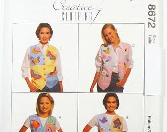 Pick a Size - McCalls Vest Pattern 8672 - Misses' Lined Vests with Applique Motifs - McCall's Patterns