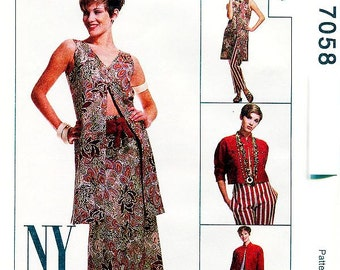 Pick A Size - McCalls Separates Pattern 7058 - Misses' Unlined Jacket, Unlined Vest, Skirt, Pants and Belt - McCall's Patterns
