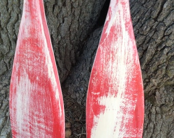 60  Inch Pair Red White Hand Painted Oars/Paddles Beach Nautical Lake House Wedding Guest Book Nursery