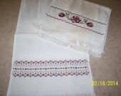 RESERVED FOR KAREN   2 Cream colored handtowels, new,  hand embroidered