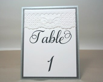 Set of 20 Silver Shimmer Lace Wedding Table Numbers / Tented Lace Table Numbers