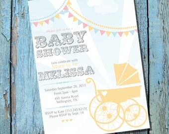 Vintage Pram Baby Shower Invitation for a Boy or Girl - Instantly Downloadable and Editable File - Personalize at home with Adobe Reader
