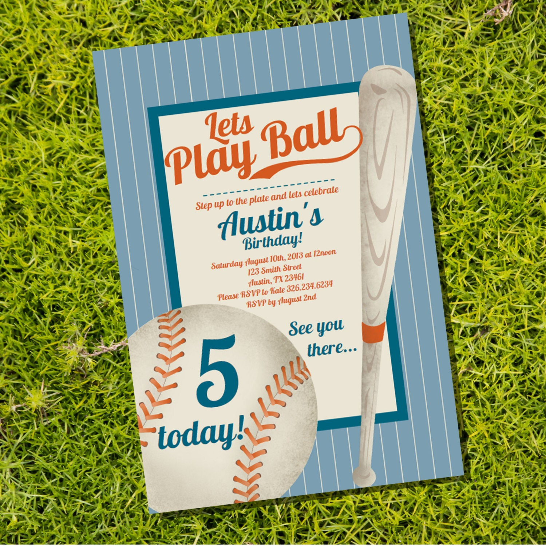 Vintage Baseball Birthday Invitations: Baseball Party Invitation Vintage Baseball Instantly