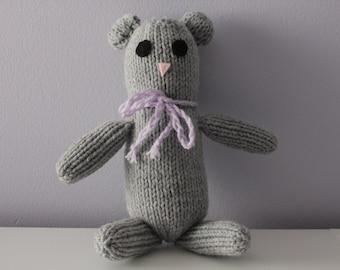 Marble the Grey Teddy Bear - Handmade Knitted Bear - Ready to Ship