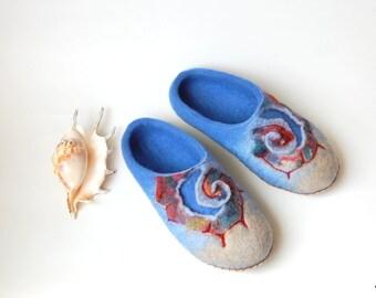 Serenity blue Felted slippers Felt slippers Wool slippers Womens slippers Handmade slippers shells art slippers 6,5 US