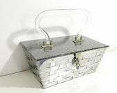Unique Dorset Rex Vintage1950s silver tone metal basket style handbag with acrylic lucite handle and lid